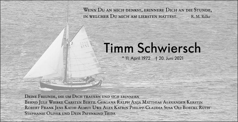 Traueranzeige von  Timm Schwiersch